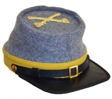 Confederate Grey Cavalry Kepi With Yellow Trim And Cavalry Badge